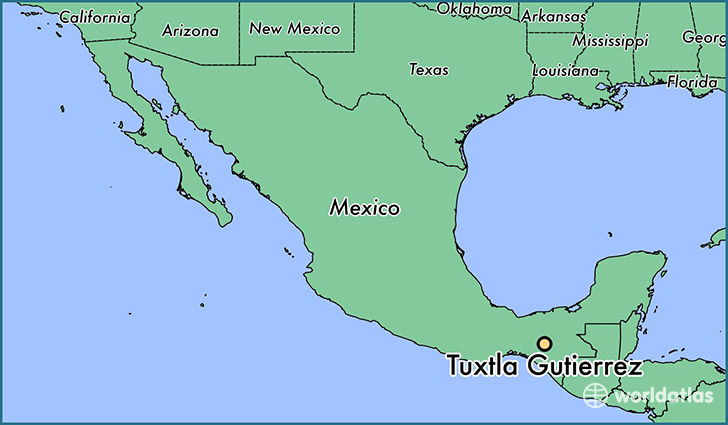 map showing the location of Tuxtla Gutierrez