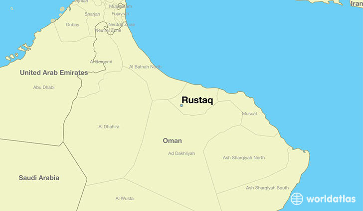 map showing the location of Rustaq