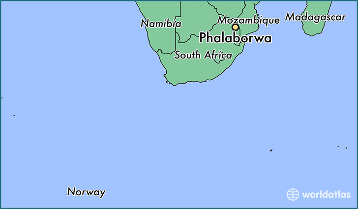 map showing the location of Phalaborwa