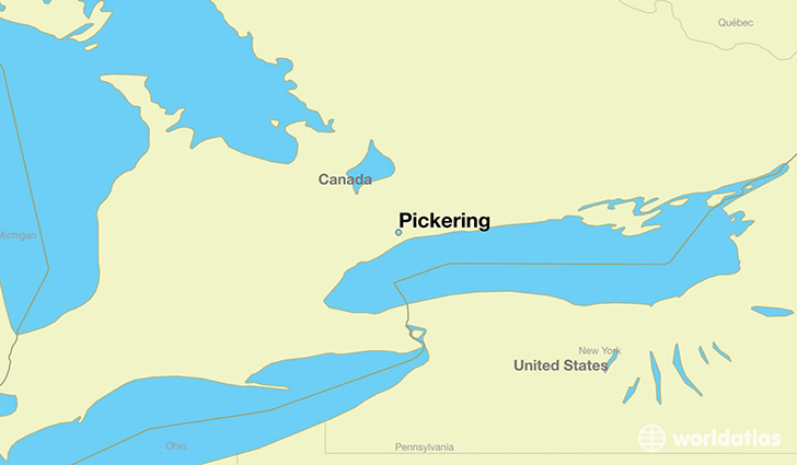 map showing the location of Pickering