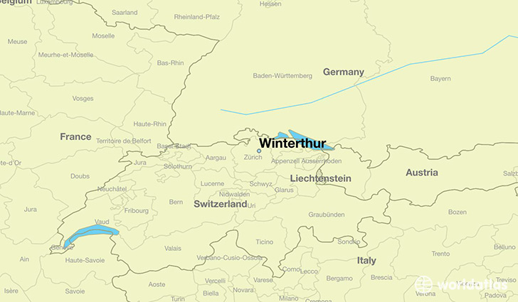map showing the location of Winterthur