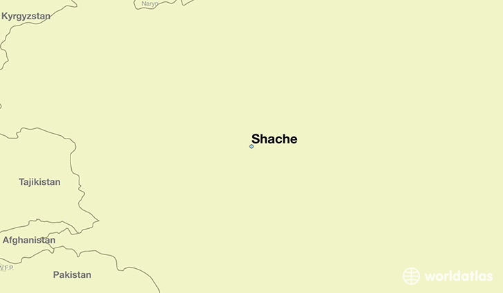 map showing the location of Shache