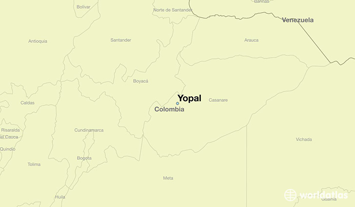 map showing the location of Yopal
