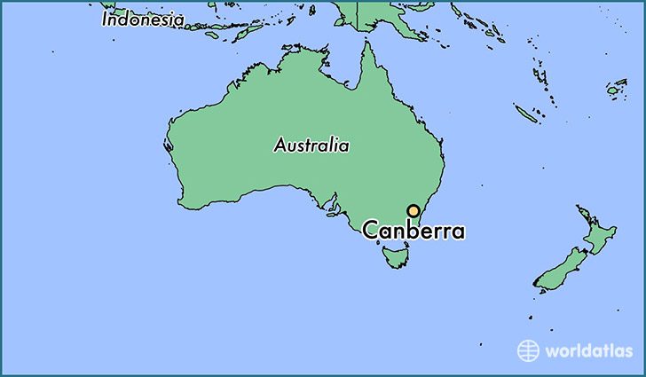 map showing the location of Canberra