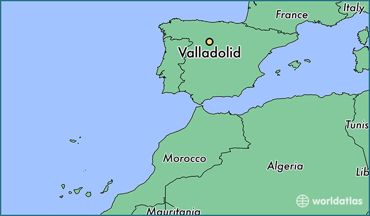 map showing the location of Valladolid
