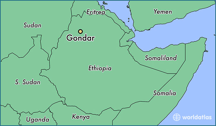 map showing the location of Gondar