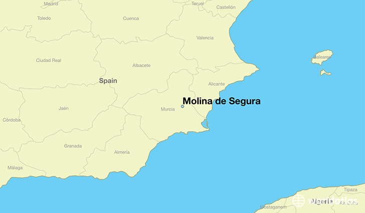 map showing the location of Molina de Segura