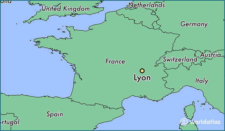 map showing the location of Lyon