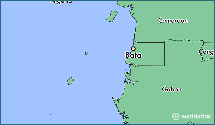 map showing the location of Bata