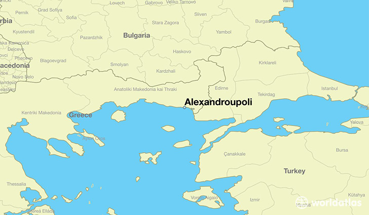 map showing the location of Alexandroupoli