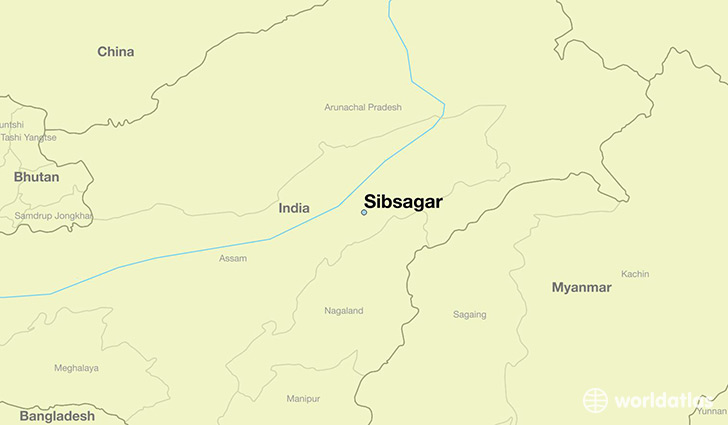 map showing the location of Sibsagar