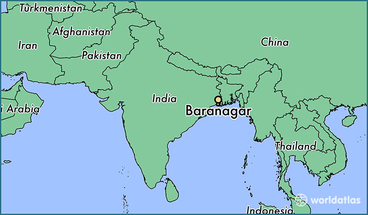 map showing the location of Baranagar