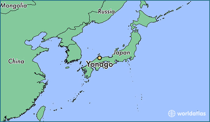 map showing the location of Yonago