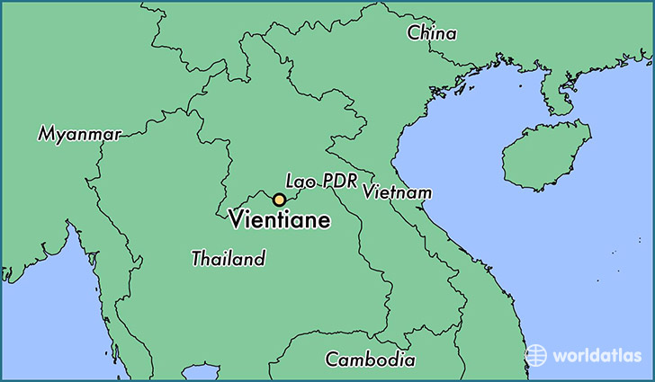 map showing the location of Vientiane
