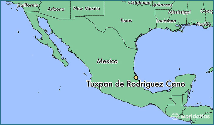 map showing the location of Tuxpan de Rodriguez Cano