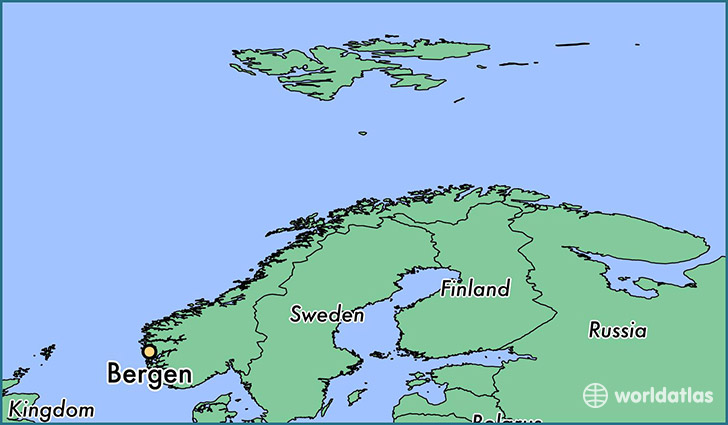 map showing the location of Bergen