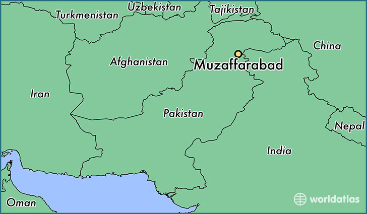 map showing the location of Muzaffarabad