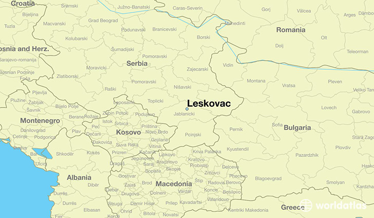 map showing the location of Leskovac