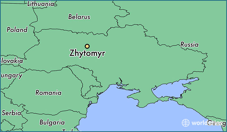 map showing the location of Zhytomyr