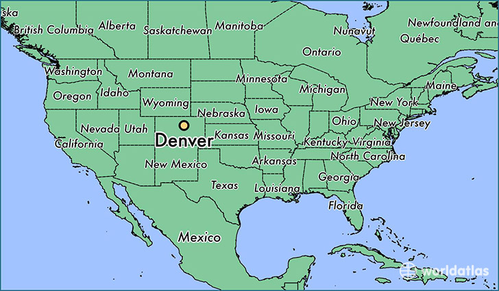 map showing the location of denver