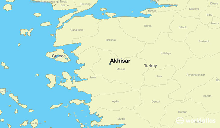 map showing the location of Akhisar