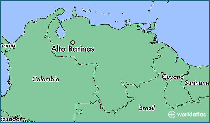 map showing the location of Alto Barinas