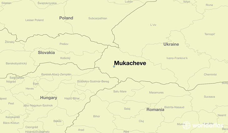 map showing the location of Mukacheve