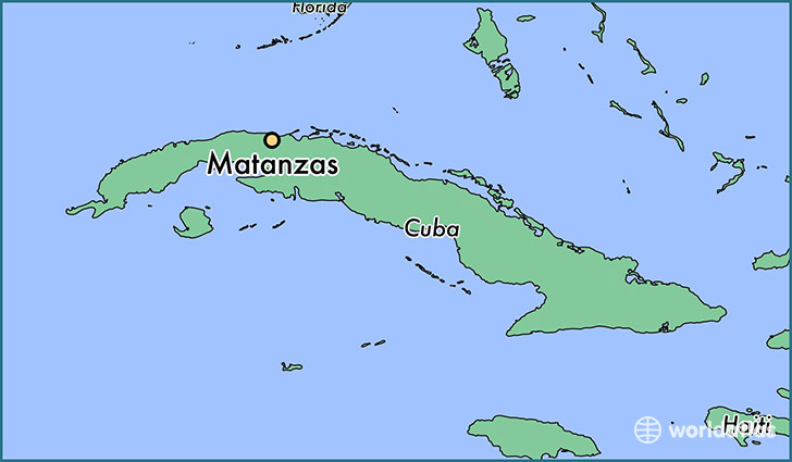map showing the location of Matanzas