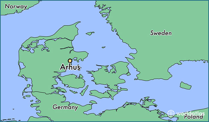map showing the location of Arhus