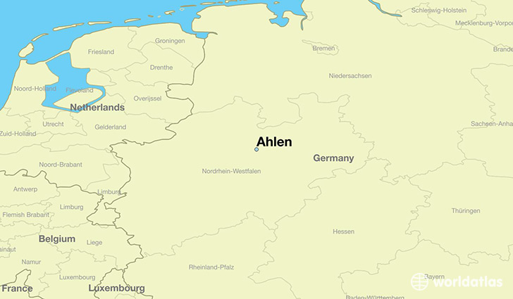 map showing the location of Ahlen