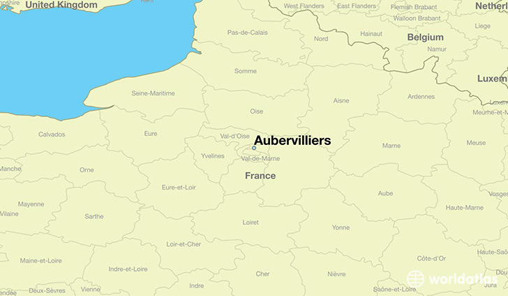 map showing the location of Aubervilliers