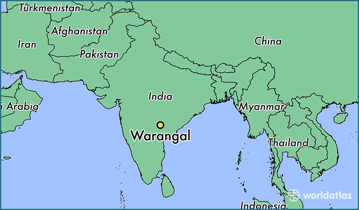 map showing the location of Warangal