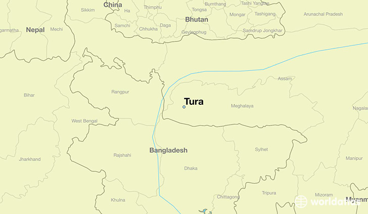 map showing the location of Tura
