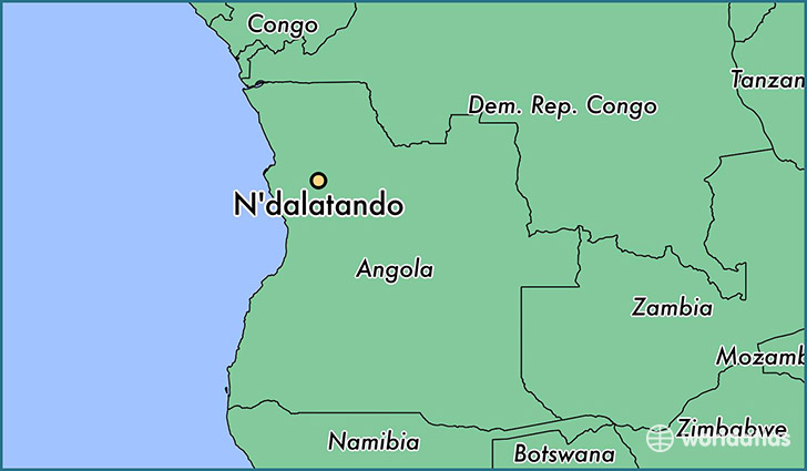 map showing the location of N'dalatando