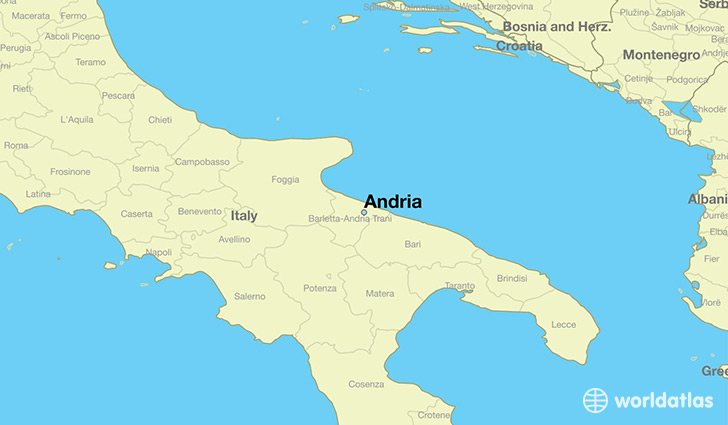 map showing the location of Andria