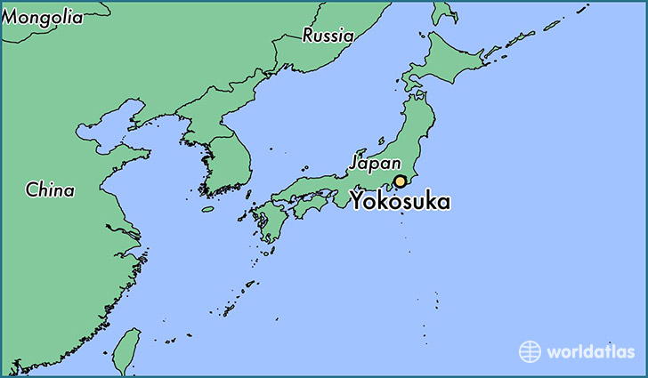map showing the location of Yokosuka