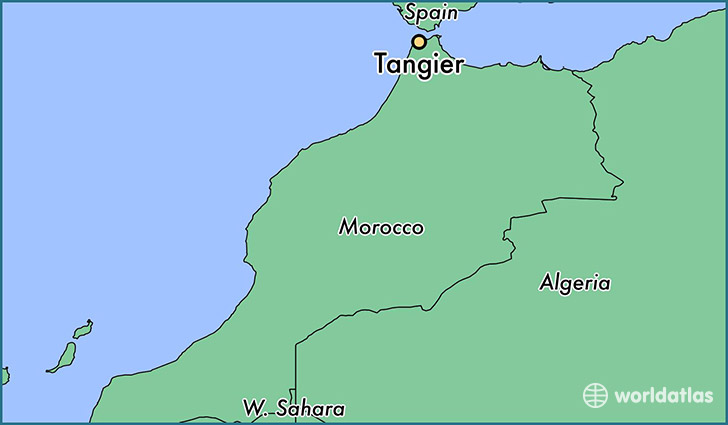 map showing the location of Tangier
