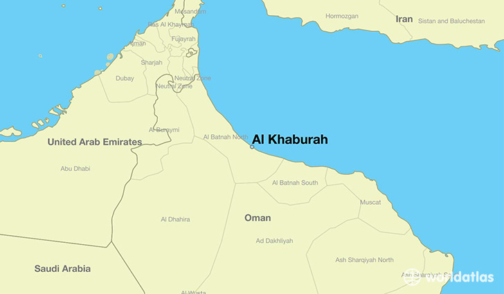 map showing the location of Al Khaburah