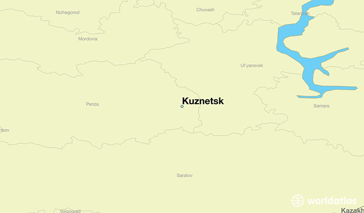 map showing the location of Kuznetsk