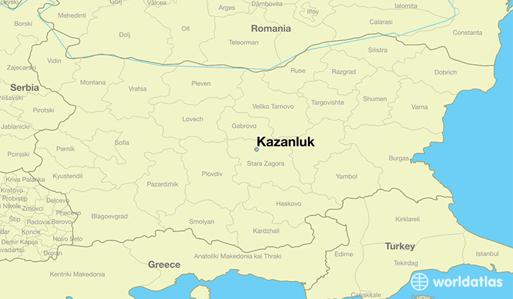 map showing the location of Kazanluk