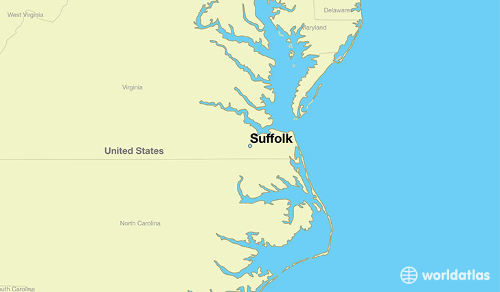 map showing the location of Suffolk