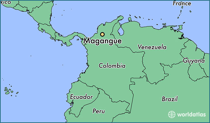 map showing the location of Magangue