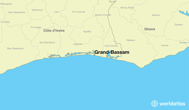Where is GrandBassam Cote DIvoire GrandBassam SudComoe Map