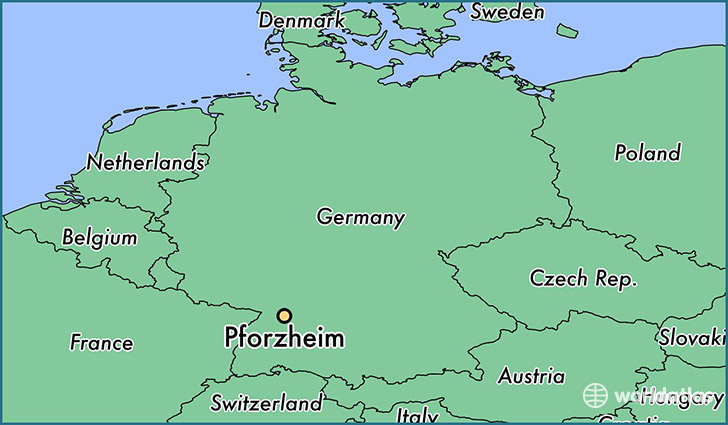 map showing the location of Pforzheim