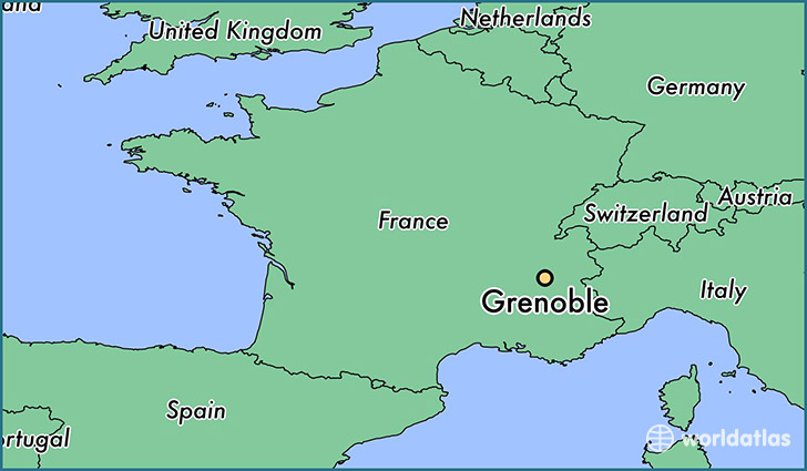 Where is Grenoble France Grenoble RhoneAlpes Map WorldAtlascom