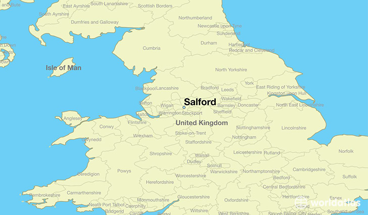 map showing the location of Salford