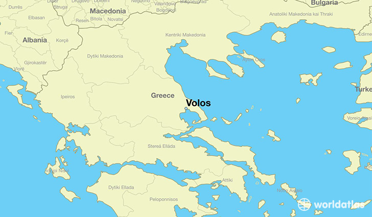 Map Showing The Location Of Volos