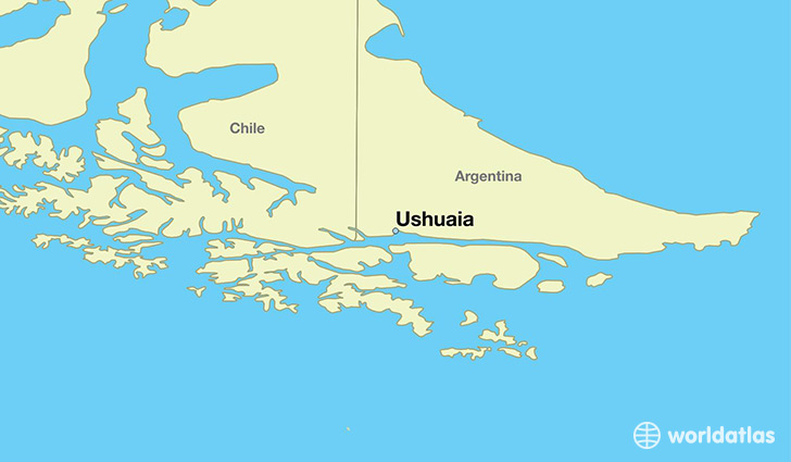 map showing the location of Ushuaia