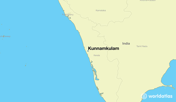map showing the location of Kunnamkulam