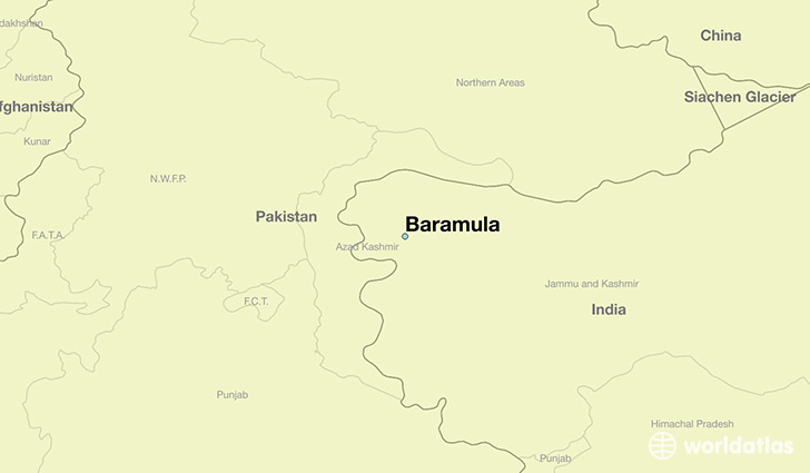 map showing the location of Baramula